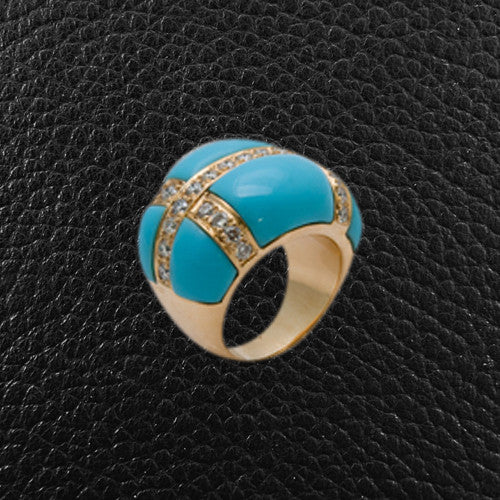 Turquoise & Diamond Ring