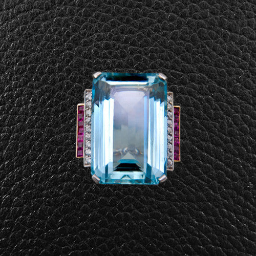 Aquamarine, Diamond & Ruby Ring