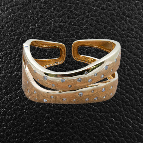 Contemporary Gold & Diamond Hinged Cuff Bracelet
