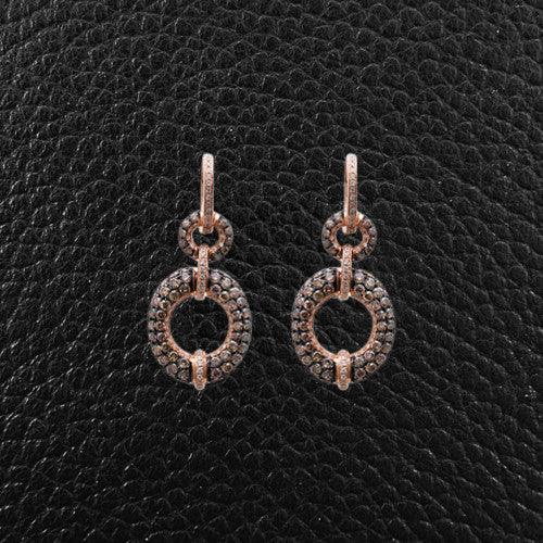 Brown & White Diamond Earrings