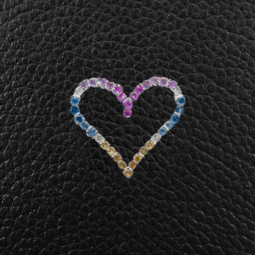 Multi-color Sapphire & Diamond Heart Pendant
