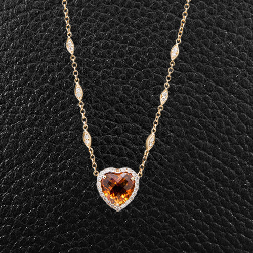 Heart Shaped Citrine & Diamond Necklace