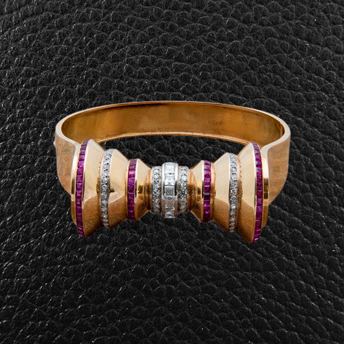 Gold Estate Bracelet with Rubies & Diamonds