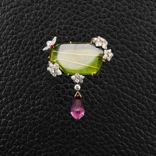 Peridot, Spinel & Diamond Pin
