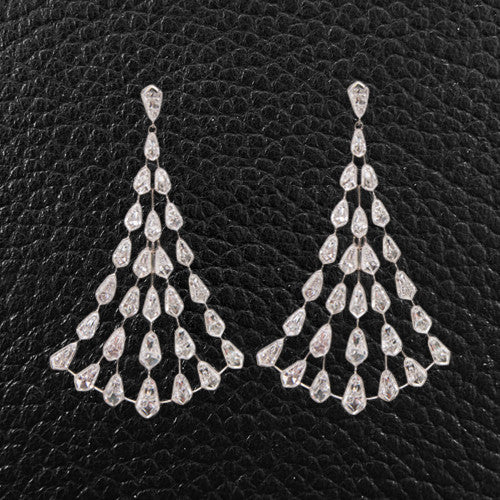 Diamond Dangle Fan Earrings