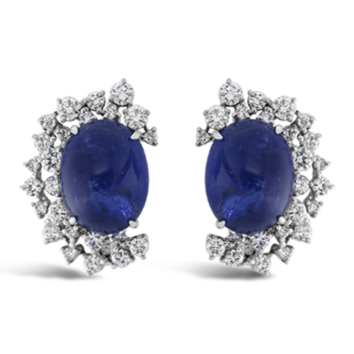 Cabochon Sapphire & Diamond Earrings