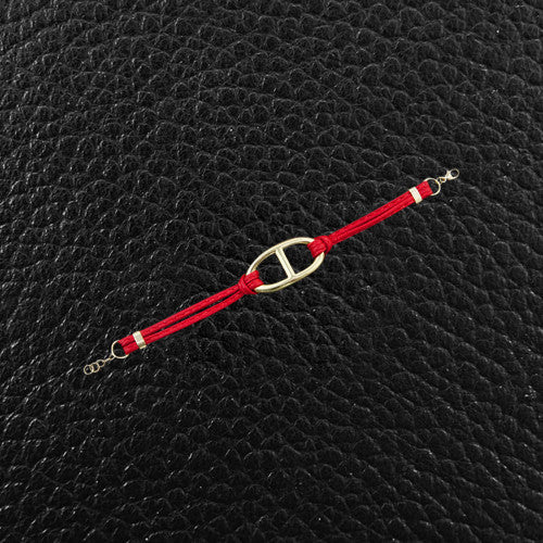 Spaghetti Strap Bracelet with Anchor Link Center