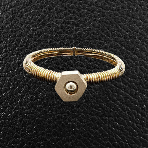 Yellow Gold Nut & Bolt Bangle Bracelet