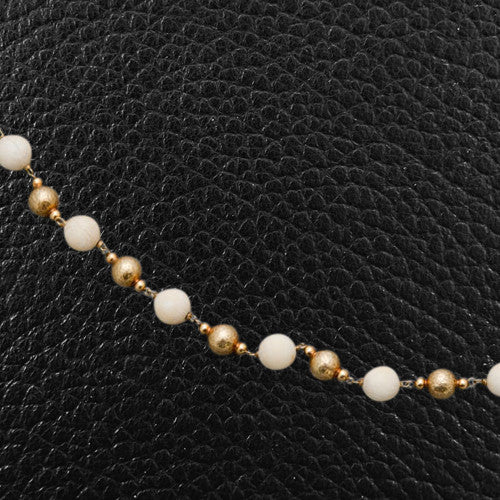 Gold & Ivory Bead Estate Necklace