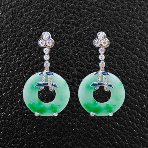 Jade, Diamond & Sapphire Earrings