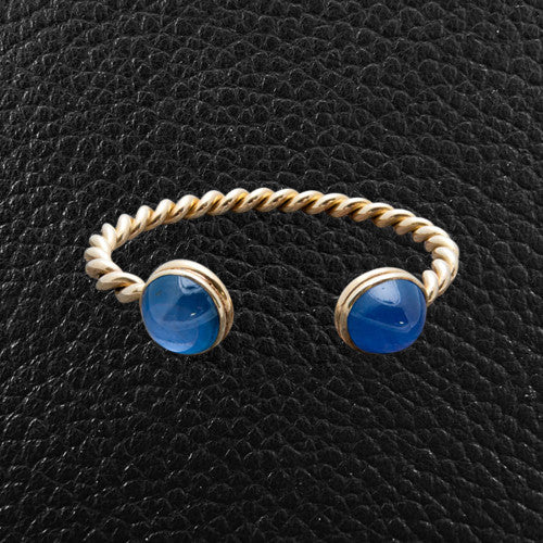 Star Sapphire & Gold Twist Bangle Bracelet