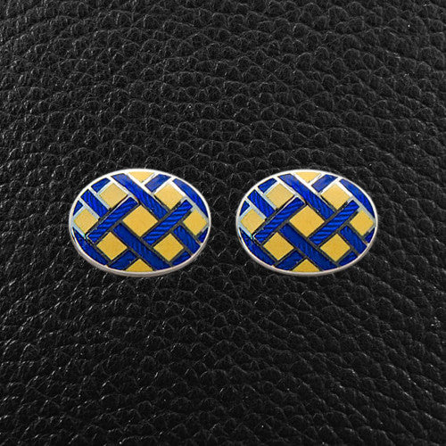 Blue & Yellow Basketweave Oval Cufflinks