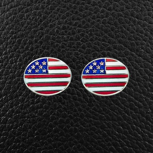Oval American Flag Cufflinks