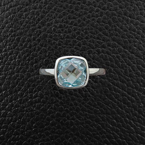 Cushion cut Blue Topaz Ring