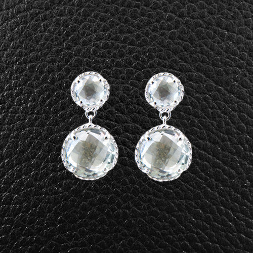 Round Green Amethyst Dangle Earrings