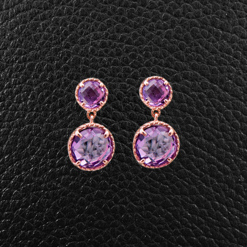 Round Amethyst Dangle Earrings