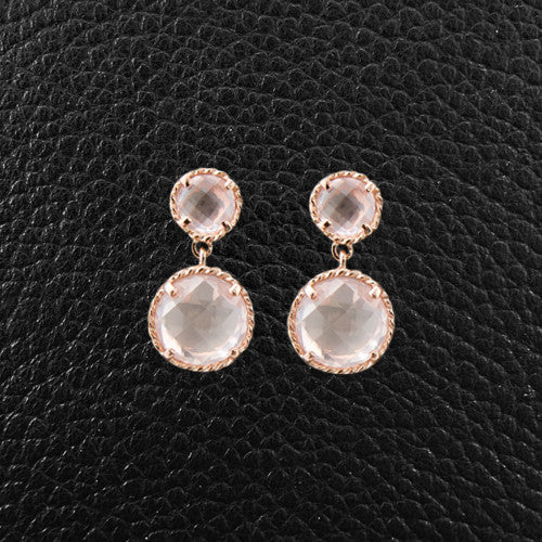 Round Rose Quartz Dangle Earrings
