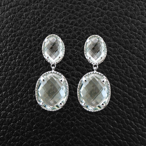 Oval Green Amethyst Dangle Earrings