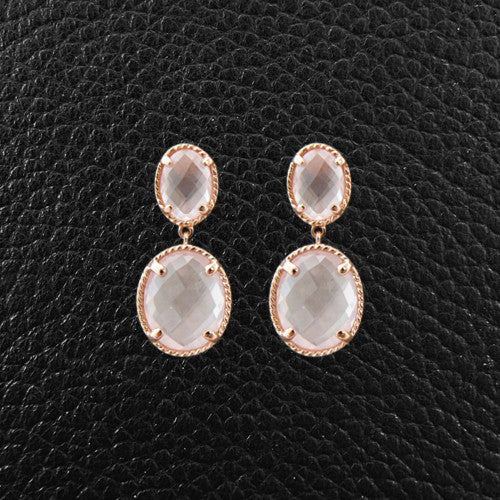 Oval Rose Quartz Dangle Earrings