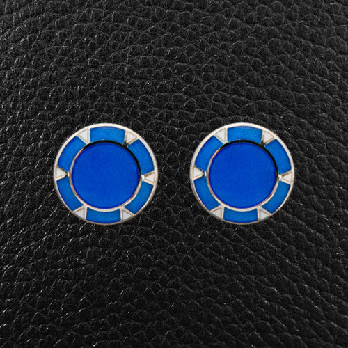 Sterling Silver & Blue Cufflinks