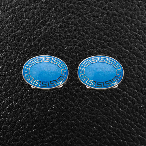 Oval Greek Key Cufflinks