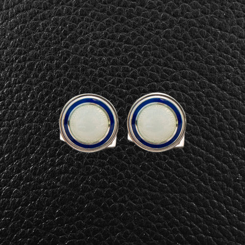 Navy & White Round Cufflinks