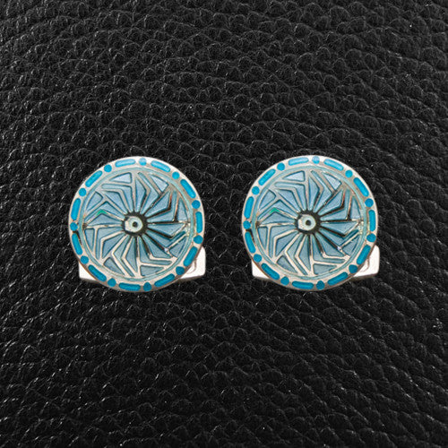 Light Blue Round Cufflinks