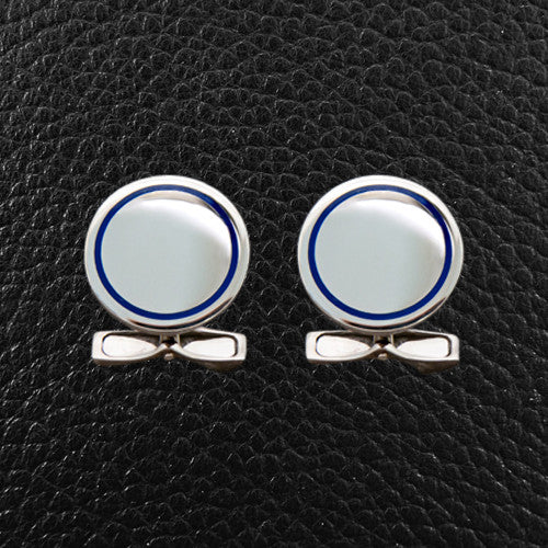 Sterling Silver Cufflinks with a Blue Accent