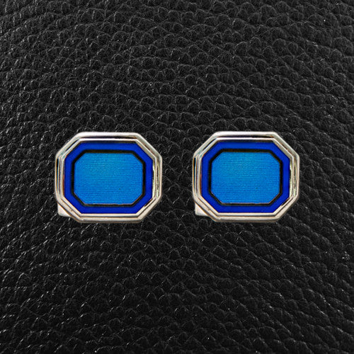 Octagonal Blue Cufflinks