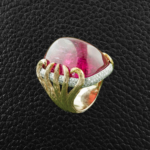 Sugarloaf Pink Tourmaline & Diamond Ring