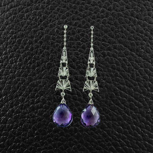 Drop Amethyst & Diamond Earrings