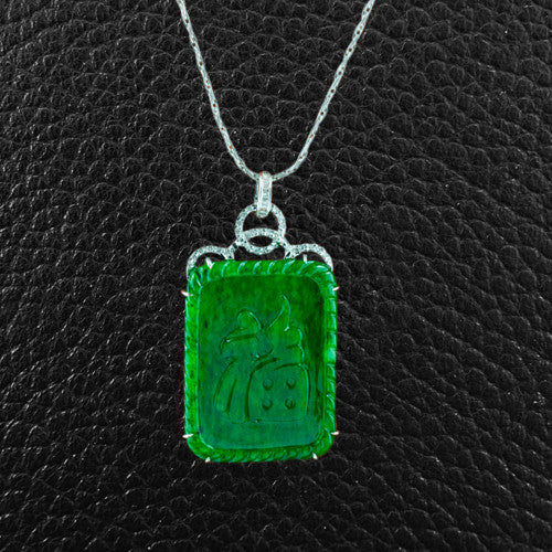 Carved Jade Pendant with Diamonds
