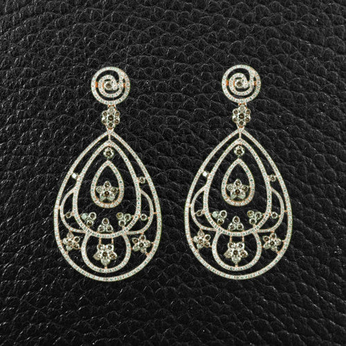 Ornate Diamond Dangle Earrings