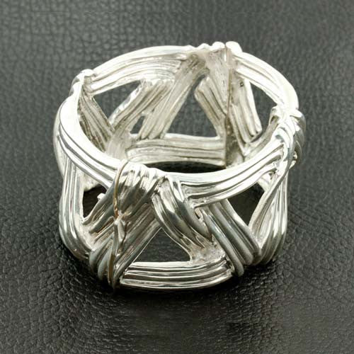 Sterling Silver Woven Hinged Bangle Bracelet
