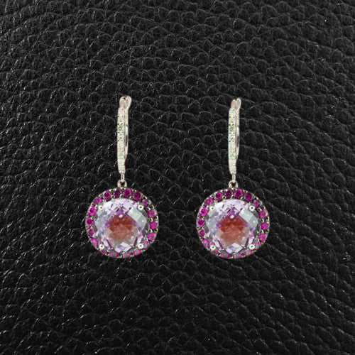 Rose Amethyst, Pink Sapphire & Diamond Dangle Earr