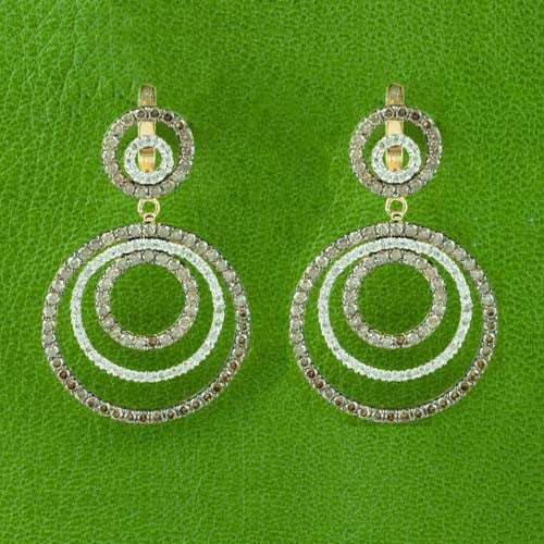 Brown & White Diamond Circle Earrings
