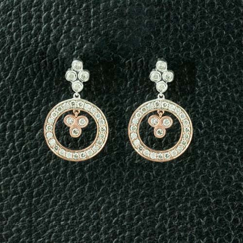 Triple Diamonds in a Circle Earrings