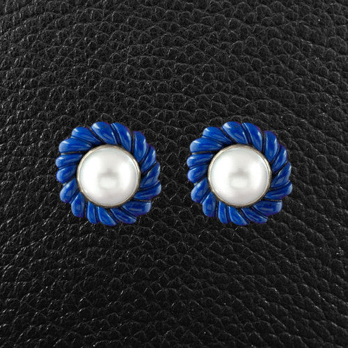 Lapis & Pearl Estate Tiffany Earrings
