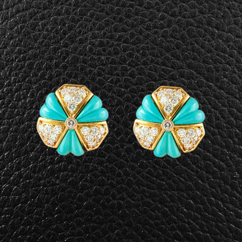 Turquoise & Diamond Estate Earrings