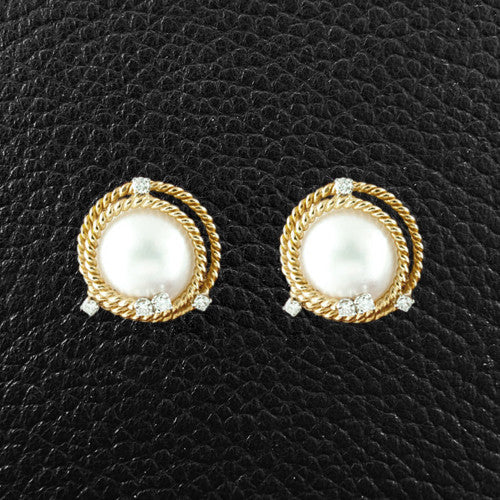 Pearl & Diamond Estate Tiffany Earrings