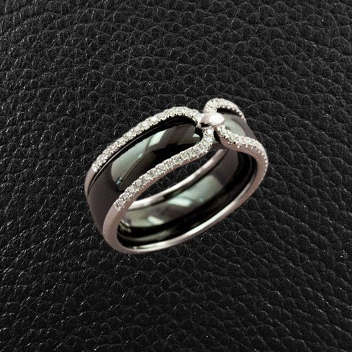 Black Ceramic Ring with Diamonds