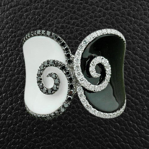 Black & White Agate with Black & White Diamond