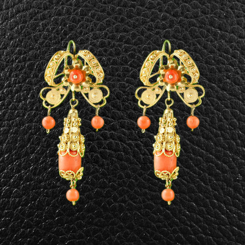 Red Coral & Gold Filigree Estate Earrings
