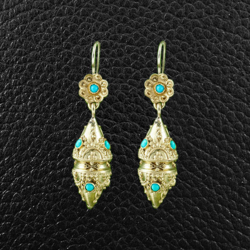 Gold & Turquoise Etruscan Revival Earrings