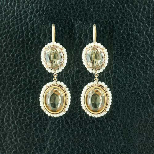 Topaz & Pearl Georgian Earrings