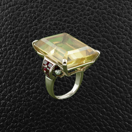 Citrine, Ruby & Diamond Estate Ring