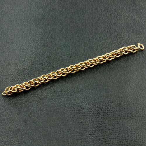 Yellow Gold Round Link Bracelet - 1970's