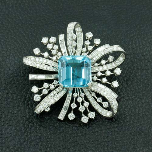 Aquamarine & Diamond Pin