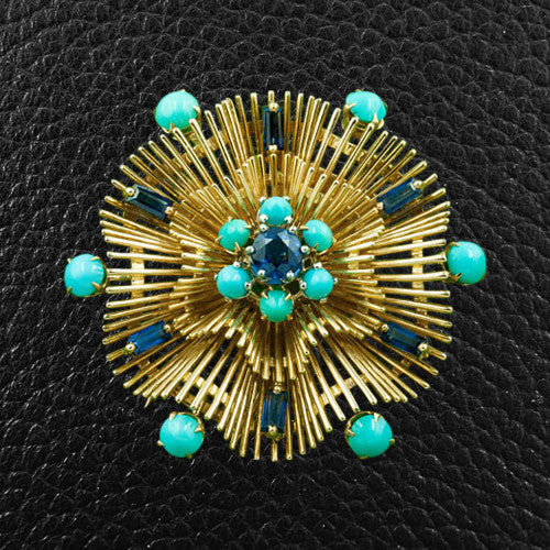 Sapphire & Turquoise Estate Pin