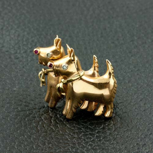 Yellow Gold Scotty Dog Pin